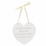 Baby Heart Shaped Hanging Plaque for Baby's room Twinkle Twinkle Little Star Gift